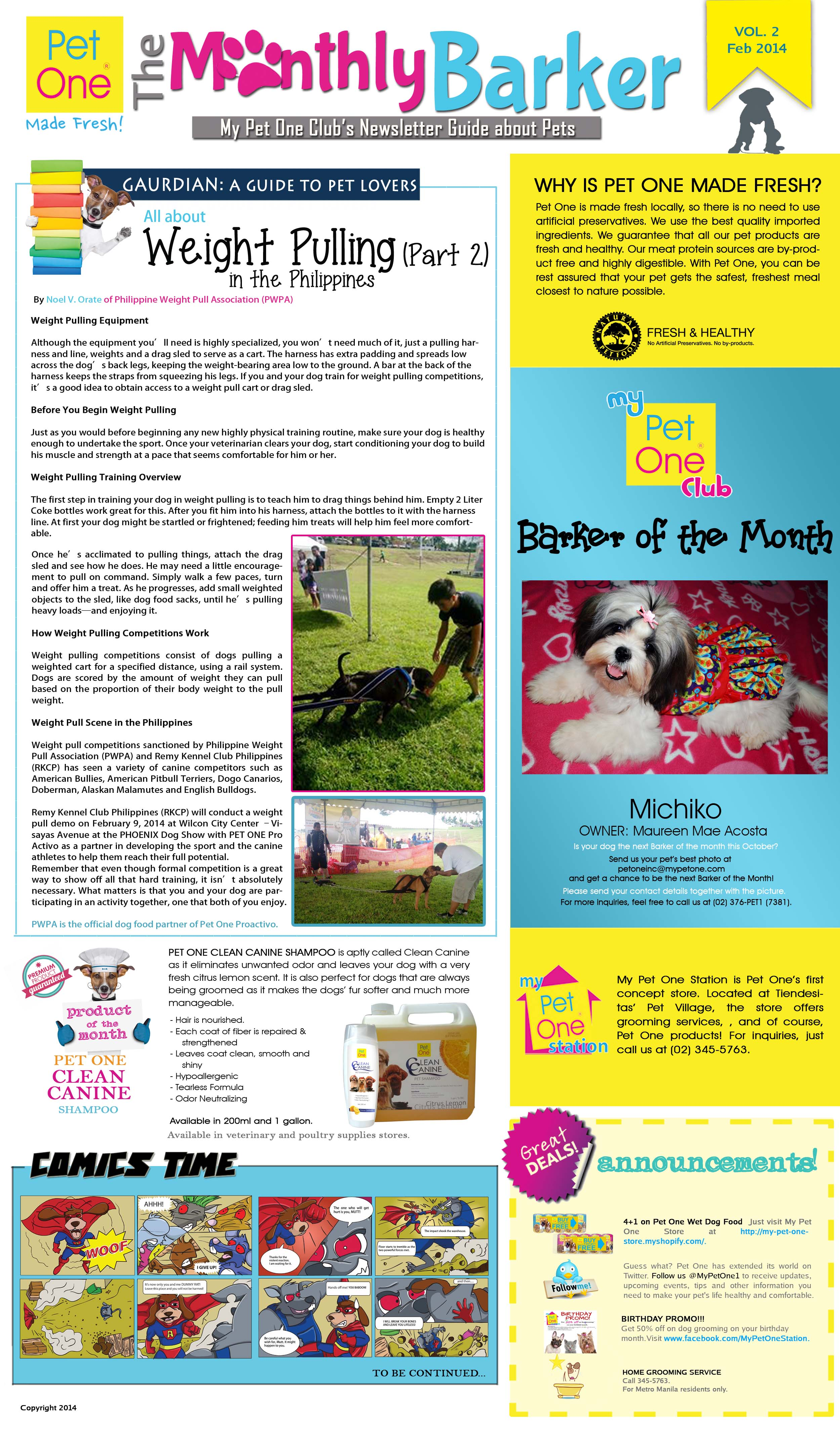 PET ONE Monthly Barker Newsletter February Volume 2